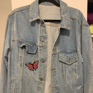 Brandy Melville Butterfly Embroidered Jean Jacket